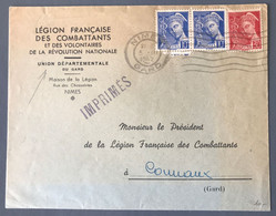 France N°407 (x2) Et 412 Sur Enveloppe De La LEGION FRANCAISE DES COMBATTANTS 5.III.1942 - (C1744) - 1921-1960: Periodo Moderno