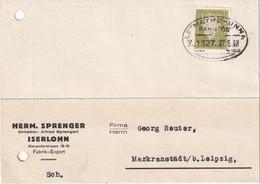 ALLEMAGNE 1932 CARTE ISERLOHN  ZUGSTEMPEL LETMATHE-UNNA PERFORE/PERFIN - Brieven En Documenten