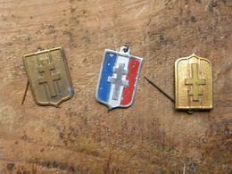 3 Insignes En Aluminium - Epinglette FFI - Croix De Lorraine - Other