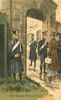 Illustrateur Pierre Albert LEROUX ,  école Spéciale Militaire De SAINT CYR ( 78 ) En 1812 - Andere Illustrators