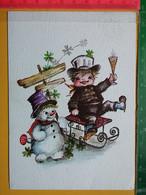 KOV 8-254 - New Year, Bonne Annee, RAMONEUR, CHIMNEY SWEEP,  Snowman, Bonhomme De Neige - Anno Nuovo