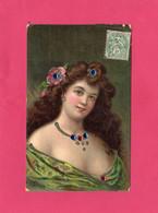 Illustrateur, Signé, Rare, HENRION, Portrait Jeune Femme Avec Perles, Colorisé, 1907, (J. C., Paris), Manque Une Perle - Henriot