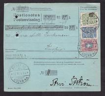 Finland: Postal Form, 1914, 3 Stamps, Heraldry, Parcel Receipt Card?, Cancel Koski & Kuopio (minor Damage) - Storia Postale