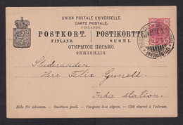 Finland: Stationery Postcard, 1897, Heraldry, Cancel Nikolaistad (traces Of Use) - Covers & Documents
