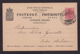 Finland: Stationery Postcard, 1897, Heraldry, Cancel Nikolaistad (traces Of Use) - Storia Postale