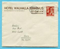 Brief Von St. Gallen Nach Zuoz 1933 - Absender: Hotel Walhalla-Terminus - Covers & Documents
