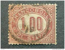 """ITALIA Regno-1875- """"Servizio Di Stato"""" £. 1 US° (descrizione) - Service"""