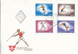 HUNGARY - 1966 FDC VIII ATLETIKAI EUROPA BAJNOKSAG  - 24912A - Athlétisme