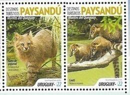 URUGUAY, 2019, MNH, TOURIST DESTINATIONS, PAYSANDÚ, FAUNA, COATIS, WILD CATS,2v - Felini