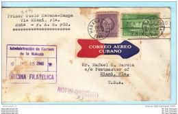 KUBA CUBA Brief Cover Lettre (w) + 80 - Erstflug FFC - Habana - Tampa - Miami 15.12.1946 - (2 Scan)(20379) - Covers & Documents