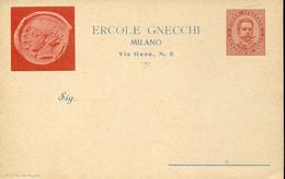 "60729  Italia,stamped To Order Postcard 10c.1902,francesco Gnecchi Milano,showig Coin ""tetradramma Catania"" RR - Entiers Postaux"