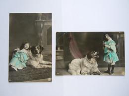 2 Cartes Fillette Avec Chien St. Bernard Meisje Met Hond NPG 487/2 - 487/4 Glacée Circulée Gelopen 1906 - Scenes & Landscapes