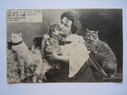 Femme Avec 3 Chats Vrouw Met 3 Katten Signé E. Ernst Circulée 1905 - Gatos