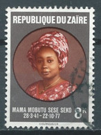 Zaïre YT N°917 Mama Mobutu Sese Seko Oblitéré ° - 1971-79: Gebraucht