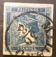 OSTERREICH AUSTRIA AUTRICHE 1851 ZEITUNGS JOURNAUX, Yvert No 1, 0,6 K Bleu Foncé, , Obl TTB - Zeitungsmarken