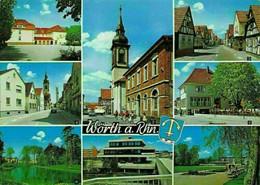 Worth Am Rhein Neues Rathaus Town Hall Pavillon Park Damm School Postcard - Andere