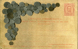 60732 Italia,commemorative Card 10c1897 Different Coins,feste Santambrosiane Milano,f.gnecchi,with Te Deum St.ambrose,RR - Entiers Postaux