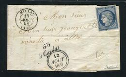 Rare Lettre Du Caylar ( Hérault 1851 ) Par Millau Pour Albi Avec Un N° 4a Bleu Foncé - 1849-1876: Klassik