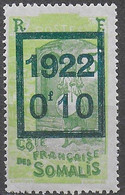 COSTA DEI SOMALI - 1922 - SOPRASTAMPATO 0,10/5 - NUOVO MNH** (YVERT 101 - MICHEL 122) - Ongebruikt