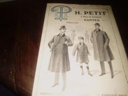 Publicité Mode  Catalogue Vêtements Homme Garçonnet .H.Petit à Nantes Hiver 1912/13 - Publicidad