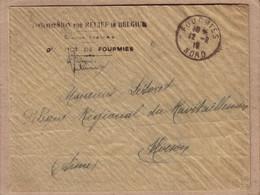 """NORD , AISNE - LETTRE """" COMMISSION FOR RELIEF IN BELGIUM """" DE FOURMIES POUR HIRSON - 1918 - 1. Weltkrieg 1914-1918"""