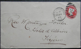 1893 WEST BROMPTON SW ENTIER POSTAUX HALF PENNY  POSTE POUR HYERES VAR FRANCE - Postwaardestukken
