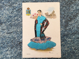 Carte Postale  Brodée   Espagne ELSI  Madrid. Danseuse Voir Photos - Borduurwerk