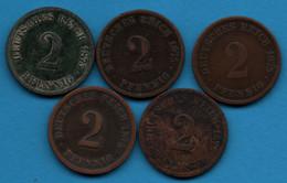 DEUTSCHES REICH LOT: 2 Pfennig 1875 A+C+F+J   KM# 2 Wilhelm I - 2 Rentenpfennig & 2 Reichspfennig