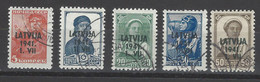Lettonia - 1941 - Usato/used - Overprint - Mi N. 1-2-4-5-6 - Letland