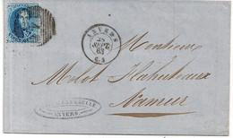 BRIEF N°15A-VAN ANTWERPEN BESTEMMING NAMUR-28 SEPT 1863 -CACHET D'ESSAI-1STE WEEK - 1863-1864 Medallions (13/16)