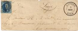 BRIEF D36 ANTHEE-N°7-NAAR LUIK-POSTBUS C FLAVION-VERTREK 05 AOUT 1856-KANTOOR ANTHEE GEOPEND 15.07.1856 - 1851-1857 Medallions (6/8)