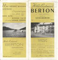 HOTEL BERTON . GERARMER . VOSGES - Advertising