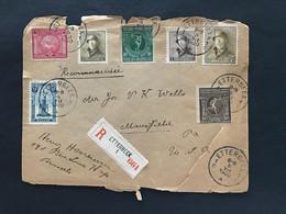 Brief - 1920 - OBP 165, 166 Helm + 164 Perron Luik + 179-181 Olympische Spelen ETTERBEEK 1 - MANSFIELD (USA) - Covers & Documents
