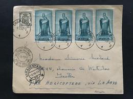 Brief - 1947 - OBP 420, 751 (x4)- CHARLEROI - IXELLES - PAR HELICOPTERE VIA LE HAVRE - Streifbänder
