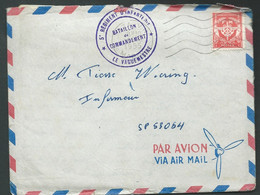 Yvt Franchise N° 12( Rouge ) / LAC , Obl. TAZA ( Maroc) + Cachet Violet 5è Regiment D'inf.  - 19/10/1955  Ac 12610 - War Of Algeria