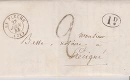 """LSC - TAXE TAMPON. """"2""""   + 1D Rural - LA FLECHE  27 JUIN 44 - 1801-1848: Voorlopers XIX"""