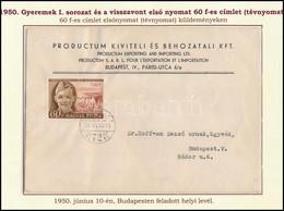 1950 Gyermek 60f Tévnyomat Budapest Helyi Levélen. Az Egyik Legszebb Levél, RR! (600.000) - Non Classificati