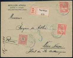 """1900 Február 15. 15kr + 2 X 10f Vegyes Bérmentesítésű Ajánlott Levél """"VÁG-SELLYE"""" - Nizza Tarifahelyes (50f) Kiállítási  - Non Classificati"""