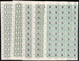 ** 1920 Magyar Posta Portó 100 Sor Hajtott Teljes ívekben Benne Lemezhibák (100.000) / Postage Due Mi 52-53 + 55-57 100  - Non Classificati