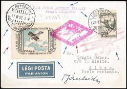 1933 Gerle Földközi-tengeri Körrepülés Levelezőlap Athénbe Bánhidy Antal és Bisits Tibor Pilóták Eredeti Aláírásával / M - Non Classificati