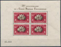 ** 1950 UPU Fogazott Blokk (160.000) (2 Bélyegen átmenő átlós Törés / Diagonal Fold) - Non Classificati