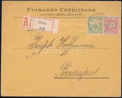 """1900 április 20. 15kr + 5f Vegyes Bérmentesítésű Távolsági Ajánlott Levél """"FIUME"""" - """"BUDAPEST"""" Luxus Kiállítási Darab! - Non Classificati"""