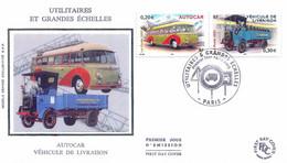 Enveloppe 1er Jour Utilitaires Et Grandes échelles, Autocar Et Véhicule De Livraison (YT 3609 Et 14) - 2000-2009