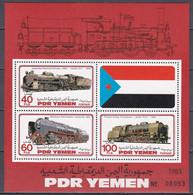 Süd Jemen Yemen 1983 - Mi.Nr. Block 13 - Posfrisch MNH - Eisenbahnen Railways Lokomotiven Locomotives - Trains