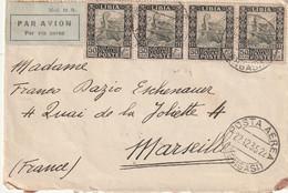 Lettre Recommandée Par Avion De Bengasi Pour Marseille Du 22 12 1935 - Libye