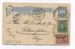 Bolivia SUCRE UPRATED POSTAL CARD TO Switzerland 1908 - Bolivia