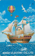 TC JAPON / 110-011 - Sport - MONTGOLFIERE Bateau & Dauphin - BALLOON Ship & Animal Dolphin JAPAN Phonecard - 237 - Sport