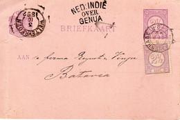 6 SEP 92  Bijgefrank. Bk Van 'sGravenhage  Met Routestempel NED:INDIË OVER GENUA Naar Batavia Via Weltevreden - Postal History