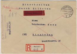 """All.Bes. - Rastatt 1947 """"Gebühr Bezahlt A"""" L2 Einschreiben Eilbrief N Wiesbaden - Unclassified"""