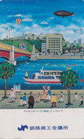 TC JAPON / 430-0644 - Sport - MONTGOLFIERE ZEPPELIN Bateau Peintre Pont  - BALLOON Ship Painter - JAPAN Phonecard - 241 - Sport